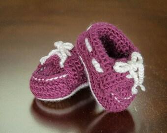 Crochet Sperry Baby Bootie in Magenta size 3-6 months