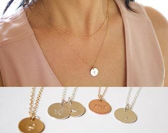 Custom Hand Stamped Disc Necklace//Gold Initial Disc Necklace//Personalized Disc Necklace//Circle Initial//Medium Disc Hand Stamped/Everyday
