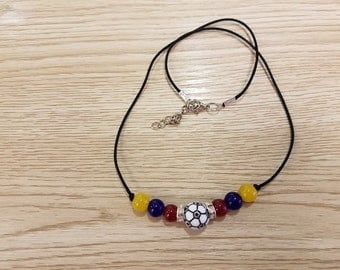 Handmade Colombia Soccer Necklace