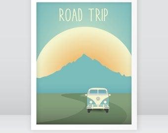 Road trip, retro, VW bus, mountains, travel, sunset, original wall art, instant download