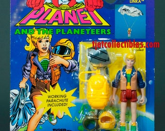 Captain Planet 1994 Series Linka Working Parachute Action Figure Tiger Toys