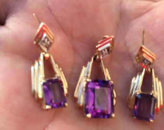 Amethyst pendant and matching earrings