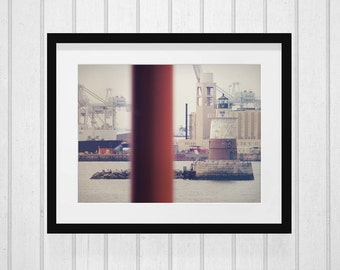 Robbins Reef Lighthouse, New York Print, Lighthouse Photo, New York Lighthouse, Industrial Print, New York Wall Decor, Staten Island Ferry