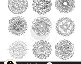 Mandala Flower_2 Clipart,flower pattern clipart,flower clipart,decorative mandala,digital download