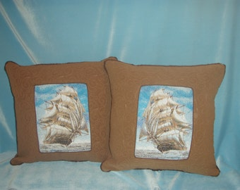 Sailing Ship in Window Pillow Set