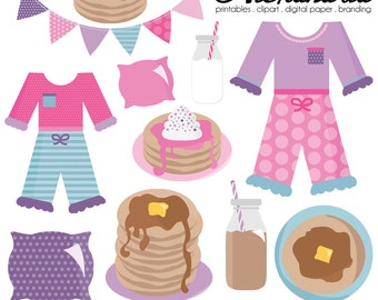 Pancakes and PJ's Digital Clipart - Personal & Commercial Use - Sleepover Clipart, Pajamas Graphics, Slumber Party Images