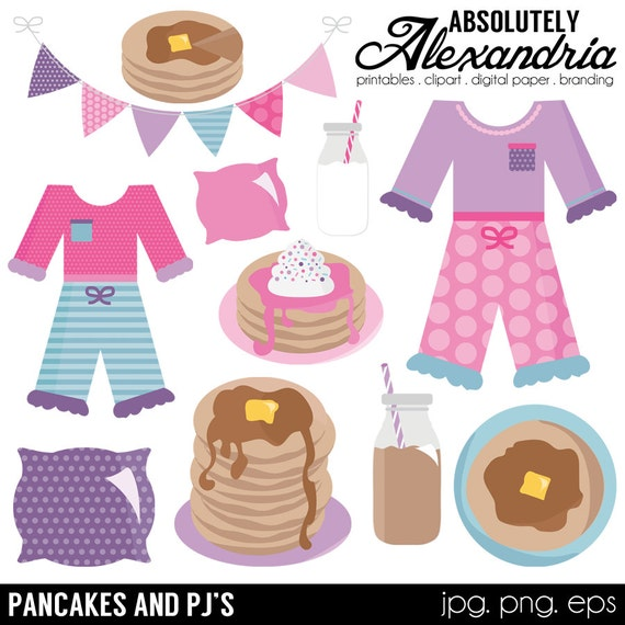 Pancakes and PJ's Digital Clipart - Personal & Commercial Use ...