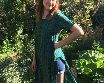 Vintage Green Guatemalan Print Sheer Tunic