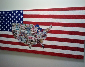 American Flag Paining with USA stampped into it