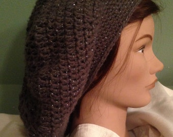 Crocheted Metallic Pewter Slouchy Beanie - Ready to Ship