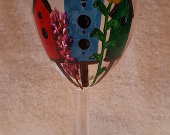Hand Painted Bird House Wine Bottle