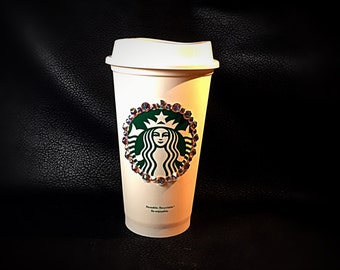 Starbucks Grande Re-usable Swarovski Crystal AB 001 Adorned Hot Cup *Ready to Ship