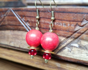 Red and Gold Dangly Earrings