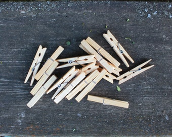 Soviet Vintage Wooden Clothespins - Rural Rustic Country Home or Wedding Decor - Set of 16