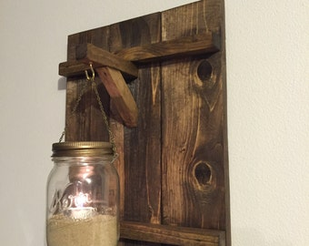 Rustic wooden candle holder, distressed wood candle holder, mason jar decor, distressed wood sconce, barnwood decor