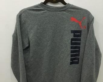 Vintage 90's Puma Grey Design Skate Sweat Shirt Sweater Varsity Jacket Size M #A71