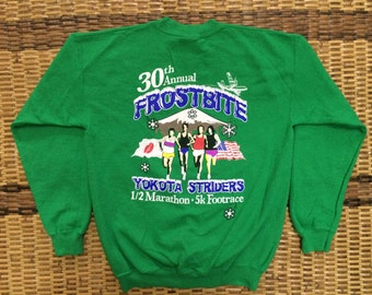 Vintage 90's Frostbite Yokota Striders Green Classic Design Skate Sweat Shirt Sweater Varsity Jacket Size L #A431