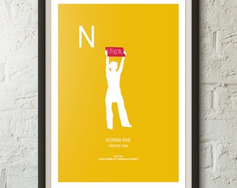 N is for NORMA RAE from Norma Rae, Good Mom of Cinema Poster, Sally Field, Minimalist Poster, various sizes, wall art, labor union print