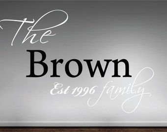 Family name & est date vinyl wall quote decal home Décor Large