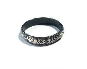 Silver Ring, Ring Band, Floral Filigree Pattern Ring