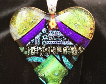 Gold and purple dichroic fused glass heart shaped pendant