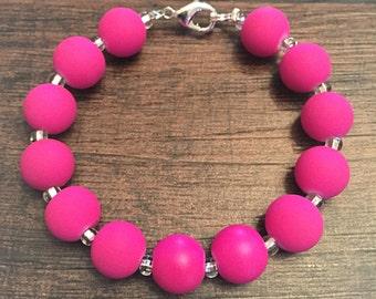 Neon Pink Beaded Bracelet