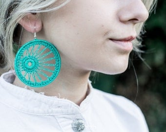 Two Circle Turquoise Ctochet Cotton Earrings