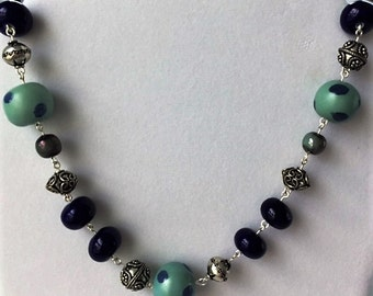 Blue and aqua polka bead necklace