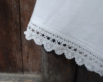 Antique French brushed cotton bloomers 1900s handstiched with lace