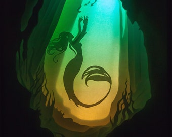 Shadow box paper cut Handmade; paper diorama in a frame made of chipboard and plastic Paper Cut Light Box mermaid