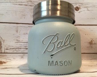 Chalk Painted Oversized Mason Canisters, Ball Canisters 64 oz Extra Wide, Cookie Jars, Canister Sets, Farmhouse Kitchen Decor, Shabby