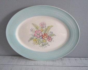 Vintage Floral Triumph American Limoges Norway Blue Serving Platter