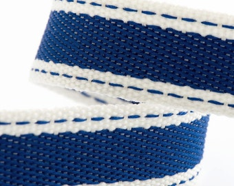 Full Reel 10m Sadle Stitch Cotton Twill Ribbon - Royal Blue