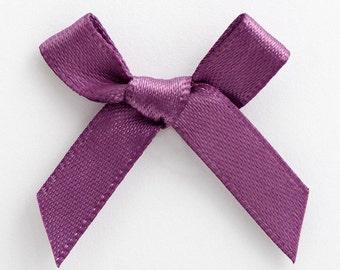 Satin Ribbon Pre Tied 3cm Bows - 100 Pack - Amethyst