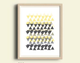 Abstract art, geometric art, black and white prints, grey, yellow Printable art, abstract wall art, digital print, wall art, 8X10 print