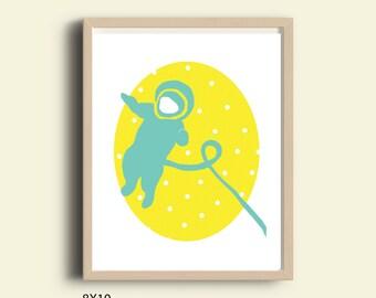 Instant download nursery, Astronaut illustration, space print, Astronaut print, yellow & blue nursery, digital download, printable wall art