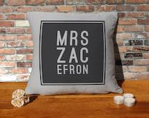 Zac Efron Cushion Pillow - Silver Grey - 100% cotton - 16x16 inches