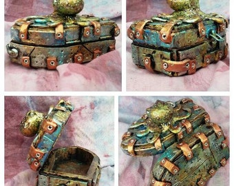 4 x 5 Steampunk octopus coffin jewelry box