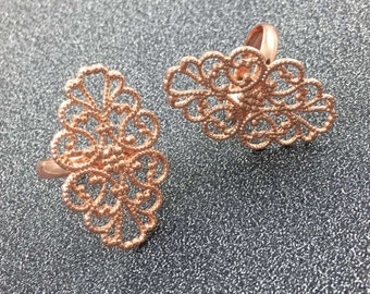 10pcs Rose Gold Plated Oval Filigree Ring, Adjustable Ring, Filigree Ring Blank Ring Setting 20*30mm Pad