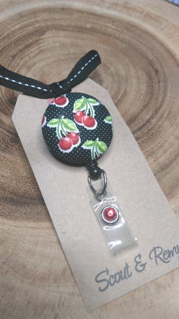 Cherries Retractable ID Badge Reel Black and White Polka Dot Cherry Retro