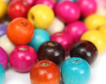 Wooden Beads - 100Pcs - Mixed Color Beads - Round Ball Beads - Loose Beads - Charm -  DIY - Free Shipping - Jewelry Making - Beading Art