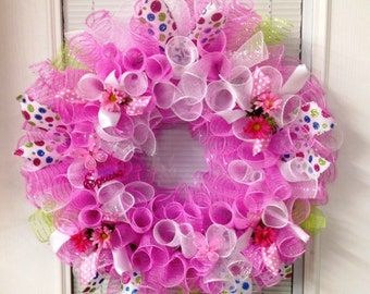 SpingWreath, Summer Wreath, Pink White Deco Mesh Wreath with Polka Dot Ribbon