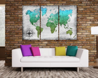 World Map Wall Canvas - Electric