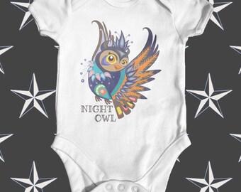 Night Owl Tattoo Baby Bodysuit | Unisex Baby Bodysuit | Cute Baby Clothes | Funny Baby Bodysuit | Baby Shower Gift | Tattoo Baby Bodysuit