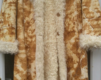 Shearling Natural Lamb Suede Fur Coat S