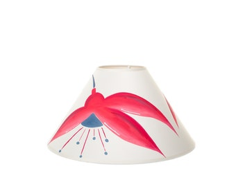 Handpainted Lampshade - Fuchsia Design, Coolie, Flower, Floral, home decor, lamp, lighting