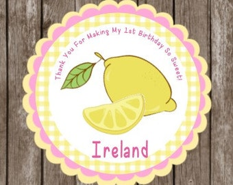 Lemonade Stickers   Pink Lemonade Thank You TAGS