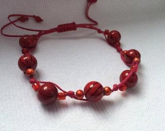 Shambala bracelet, 2 colours bracelet Shambala handmade bracelet blue shambala red shambala bracelet