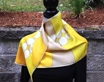 Vintage Vera Neumann Scarf - Yellow-Based 60s/70s Geometric Pattern