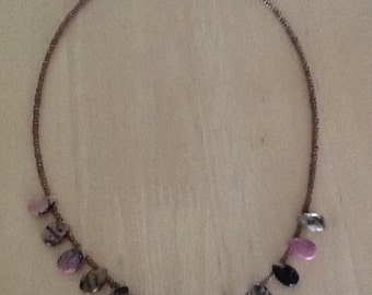 Rhodonite Necklace with seed beads.